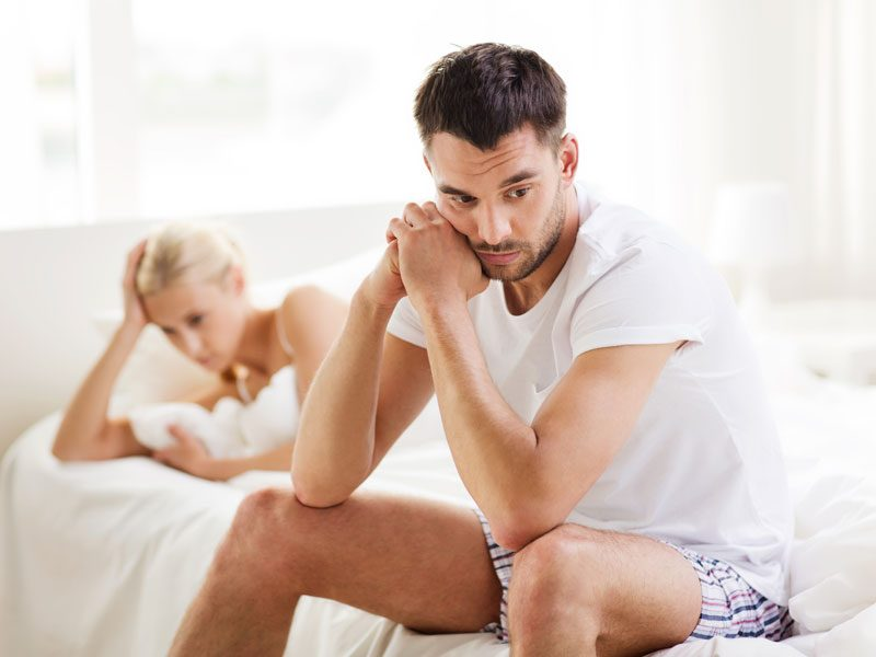 A man with erectile dysfunction having sexual performance problems